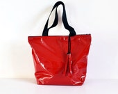 Red tote bag , Red handbag , Red Faux patent leather shopper bag