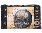 Victorian Gothic Skull Makeup Bag  Zipper Pouch Wallet Gadget Bag Clutch