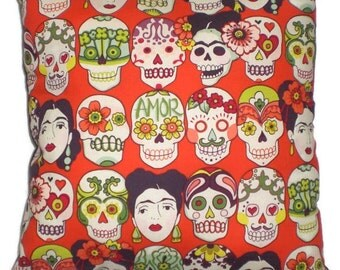 Frida Mexican Art Decorative Throw Pillow Home Decor Day of the Dead Sugar Skulls Bedding