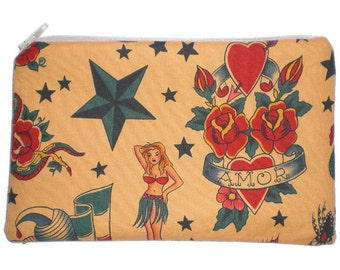 Tattoo Makeup Bag Zipper Pouch Gadget Bag Clutch Wallet Sailor Jerry Rockabilly