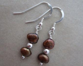 bronze pearl sterling silver dangle earrings