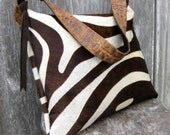 Hair On Zebra Cowhide Purse in Dark Brown and Ivory Print by Stacy Leigh Ready to Ship