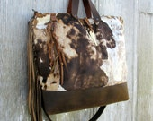 RESERVED for Erin Large Cross Body Leather Tote Bag in Acid Washed Cowhide with Deer Antler by Stacy Leigh