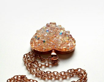 Rose Gold Heart Pendant with Glass Bubbles
