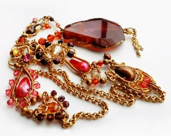 Citrine, Garnet Agate, Faceted Pearls and Swarovski Crystal Bollywood Inspired Necklace