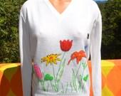 70s vintage women's sweater v-neck RAINBOW chenille applique floral novelty Medium white 60s preppy
