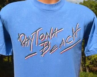 vintage 80s t-shirt DAYTONA beach florida blue soft thin tee shirt Medium Large sets