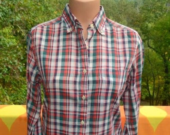 vintage 70s blouse plaid WRANGLER red blue shirt western preppy women's Medium Small 80s