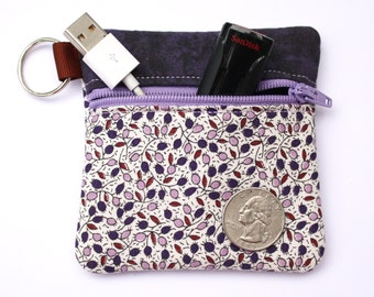 Coin purse Key chain zipper pouch fits earbuds, essential oils, USB, Square reader case purple floral fabric