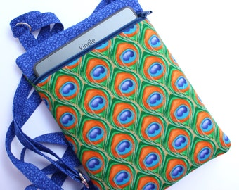 Crossbody bag in peacock feather fabric padded Kindle bag
