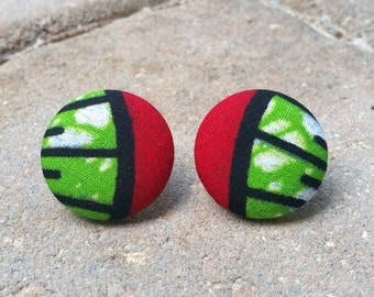 Abayomi ~~ African Ankara Fabric Button Earrings. MEDIUM. 1 1/8 Inches. Stainless Steel Posts. Tarnish Free. Lead Free. Nickel Free