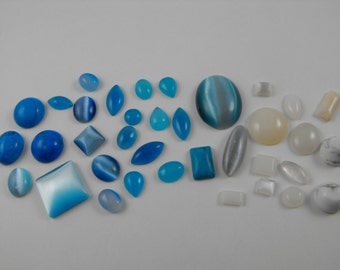 Jewelry Supply Destash! Destash blue and white Cabochon Lot 30+ Pc # 2157