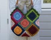 Crochet 'granny square' bag,