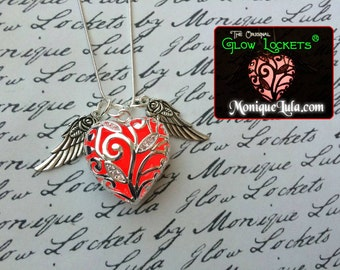 Red Flying Heart of Winter Glow Necklace with Wings