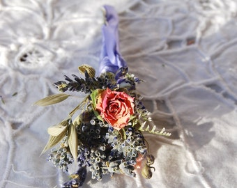 Montana Romance and Lace Boutonniere of Dried French Lavender and Rose Bud, Blue & Pink Larkspur Grooms Best Man Groomsmen