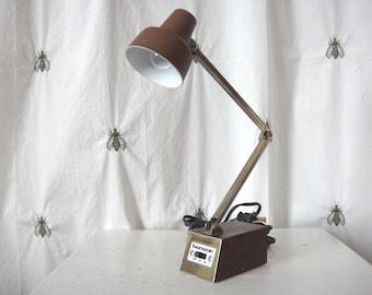 Vintage Tensor Telescoping Desk Lamp, Brown, Faux Wood, Gold, Silver, Mid Century Modern, Adjustable