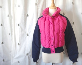Vintage Roffe Skiwear Pink and Navy Puffer Ski Jacket, Women, Size Small, Winter Outerwear, Made in the USA