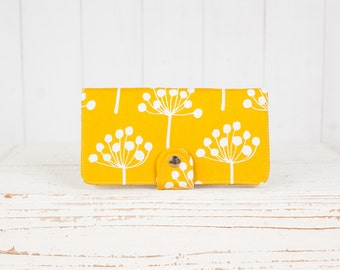 Handmade  Wallet - BiFold Wallet Clutch - Vegan Wallet / Spring Buds in Gold Mustard -- Ready to Ship