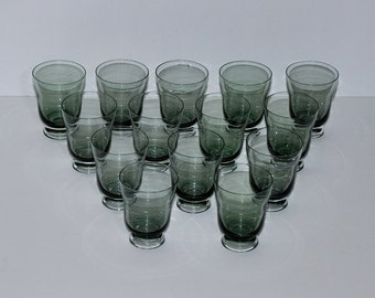 Mid Century Modern Smoked  Glass Tumblers, Set of 14