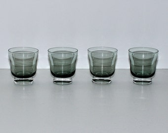 Mid Century Modern Smoked Green Glass Juice Glasses, Set of 4