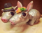 Armadillos in Love with your choice of hat and flower wreath Folk Art wedding cake topper Made to Order