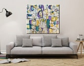 Reserved for Elaine art  modern abstract painting Blue yellow purple