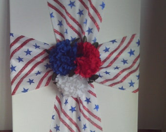 Patriotic Cross,Red,White and Blue Cross,Americana Cross