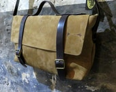 Men's Leather Satchel with Branded Hide