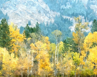 Printable Photo Art, Aspen Trees Landscape, Instant Download, Washington State Cascade Mountains Watercolor Painting
