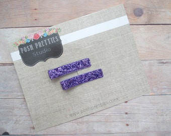 Glitter Purple  Hair Clip Eggplant No Shed Glitter Clippie Set of Two