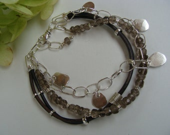 Silver Leather Smokey Quartz Handcrafted Three Stranded Bracelet