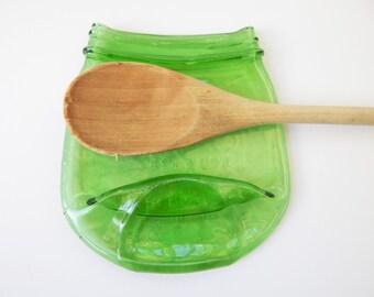 Melted green Mason Jar, Spoon Rest, Soap Dish, Candle Holder, Vintage Style- slumped mason jar- Green mason Jar- Melted mason jar