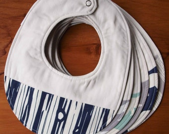 Organic Baby Bib in BEAR HIKE BLUES, Choose your Favourite Blue, Grey, Ivory Tree Stripes or Bear Hike Bib by Organic Quilt Company