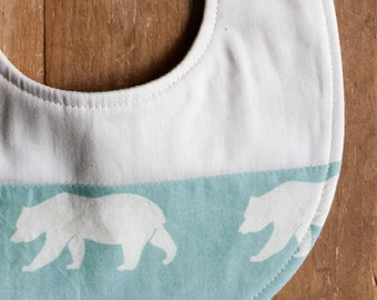 Organic Baby Bib in BEAR HIKE MINERAL; Aqua and Ivory Bear, Woodland Newborn Baby Bib Gift (Last One)