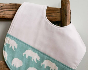 Aqua Blue Toddler Bib with Bears; Woodland Animals; Organic Cotton Feeding Bib; Bear Hike Mineral; Baby Basics; Large Mealtime Bib; Last One