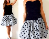 Vintage 80s Black Velvet Polka Dot and Gingham Bubble Skirt Ruched Party Dress (size xs, small)