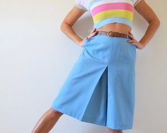 SUMMER SALE / 20% off Vintage 60s 70s Robins Egg Blue High Waisted Culottes (size small, medium)