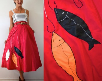 Vintage 60s 70s Great Catch High Waisted A Line Skirt (size medium)