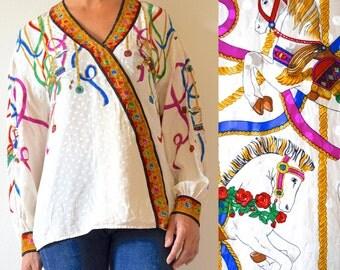 Vintage 80s 90s Merry Go Round Polka Dot Silk Blouse