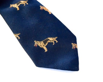 Vintage 60s 70s Pedigree Ties German Shepherd Navy Blue Necktie