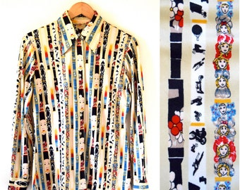 Vintage 70s Wonder Emporium Striped Novelty Print Tailored Long Sleeved Button Down Collared Shirt (size medium, large)