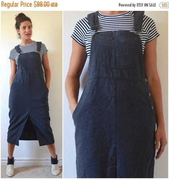 SUMMER SALE / 20% off Vintage 80s 90s Grey Wool Midi Length Overall Jumper Dress (size medium, large)