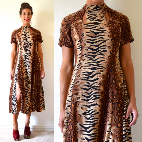 SALE SECTION / 50% off Vintage 80s 90s Animal Print Cut Out Midi Dress (size small, medium)