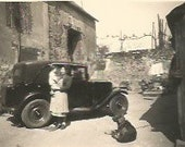Vintage 1957 French real photography black & white old car and people