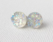 RESERVED Custom order/ 6 pair Druzy stud earrings / faux druzy / Aurora borealis / AB hypoallergenic earrings / surgical steel