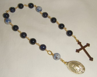 Immaculate Conception Chaplet Blue Goldstone inv1289