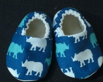 Rhino, Rhino Baby Shoes, Baby Slippers, Soft Sole, Crib Shoes, Baby Boy, Hash Tag Print Soles