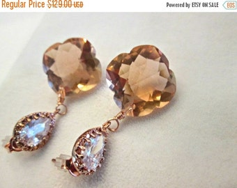 ON SALE Peach Morganite Earrings, Rose Gold Earwires, Dangle Earrings, One Of A Kind Earrings, The Peach Sangria Earrings