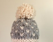 Knit Baby Hat, Toddler Hat Pom Pom Baby Hat, Boy hat, Girl hat, Fair Isle Gray and Cream