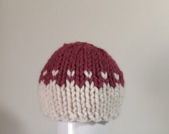 Knit Baby Hat, Chunky Baby Hat Baby Girl hat, Fair Isle Cream and Blossom Pink